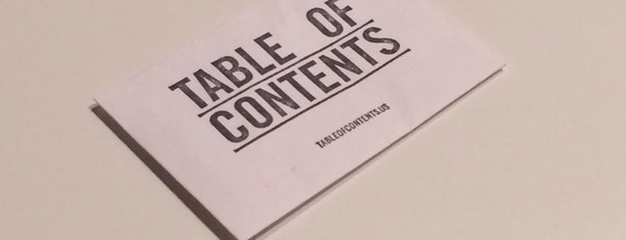 Table of Contents is one of Portland.