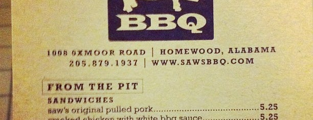 Saw's BBQ is one of Best of Birmingham.