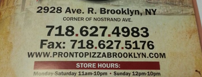 Pronto Pizza is one of Brooklyn To Do List.