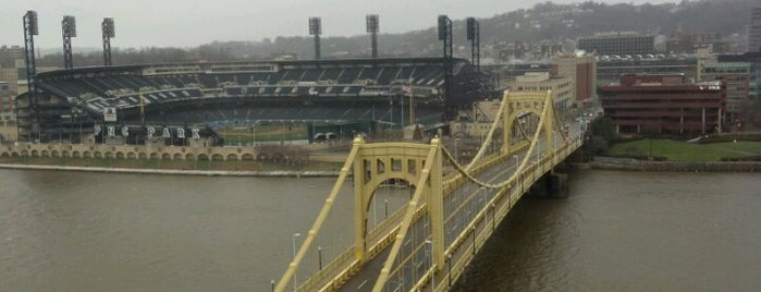 Roberto Clemente Bridge is one of Pittsburgh.