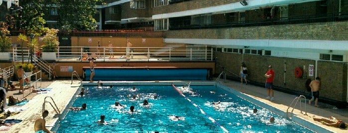 Oasis Outdoor Swimming Pool is one of Fitness:Barre/Yoga/Pilates/Bike/Inline/Swim.