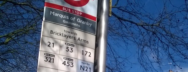 Marquis Of Granby Goldsmiths Bus Stop (X Or Y) is one of Транспорт.