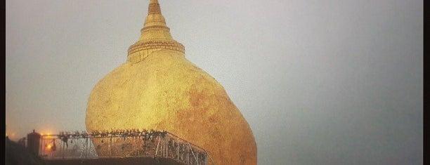 Kyaiktiyo Pagoda (Golden Rock Pagoda) is one of Yangon - Myanmar.
