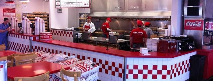 Five Guys is one of Brews, Burgers, etc.