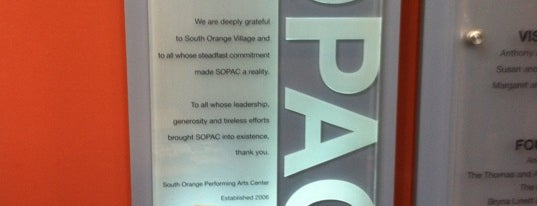 SOPAC (South Orange Performing Arts Center) is one of Dirty Jersey.