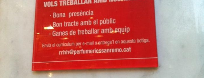 Perfumería San Remo is one of Ofertas de Trabajo Comercios Barcelona.