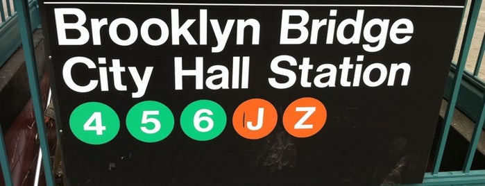 MTA Subway - Brooklyn Bridge/City Hall/Chambers St (4/5/6/J/Z) is one of สถานที่ที่ Jason ถูกใจ.
