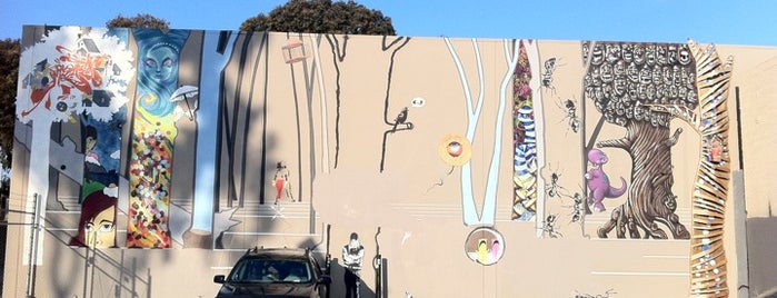 Banksy Mural: 'Bird Singing In Tree' is one of Banksy does San Francisco.