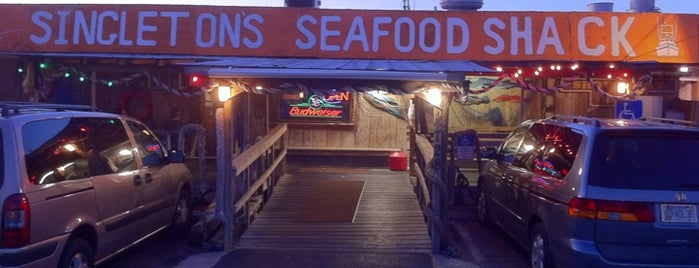 "Singleton's Seafood Shack is one of ""Diners, Drive-Ins & Dives"" (Part 1, AL - KS)."
