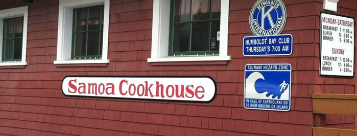 Samoa Cookhouse is one of Pacific Old-timey Bars, Cafes, & Restaurants.