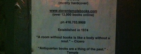 Steven Temple Books (ABAC) is one of Toronto.