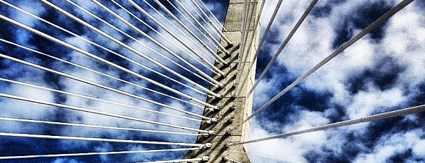 Leonard P. Zakim Bunker Hill Memorial Bridge is one of Boston in the fall!.