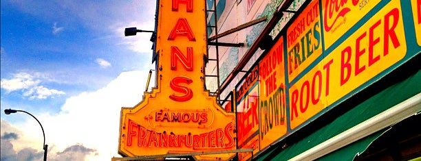 Nathan's Famous is one of Lugares favoritos de Adam.