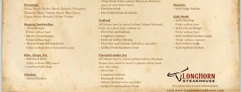 LongHorn Steakhouse is one of Gluten Free menus.
