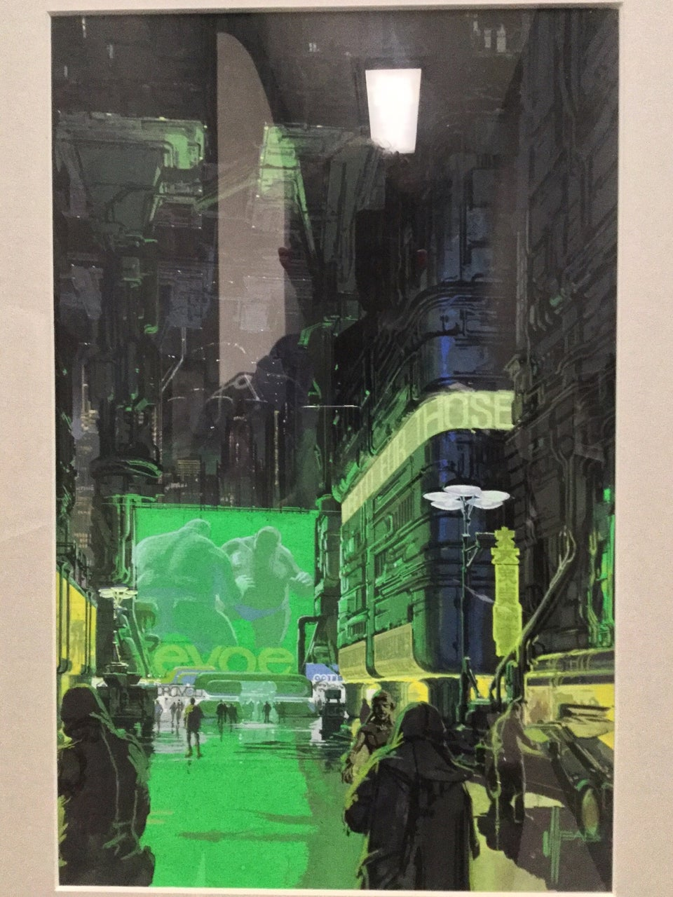 Photorealistic painting of a future urban street scene.