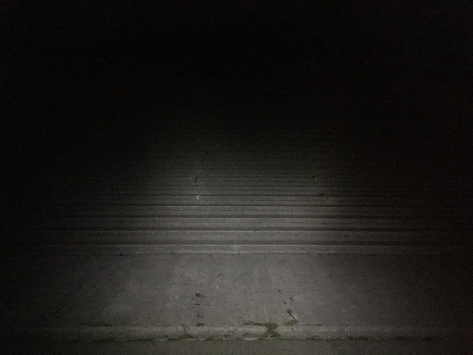 Dark of night in front of the outdoor steps of Alta Plaza Park, only partially visible by headlamp.