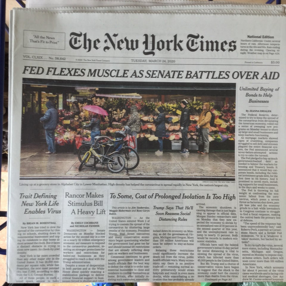 New York Times newspaper front page above the fold on March 24th, 2020 with main headline: FED FLEXES MUSCLE AS SENATE BATTLES OVER AID