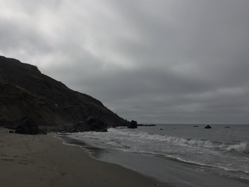 Looking south at Muir beach to ominously overcast grey skies.