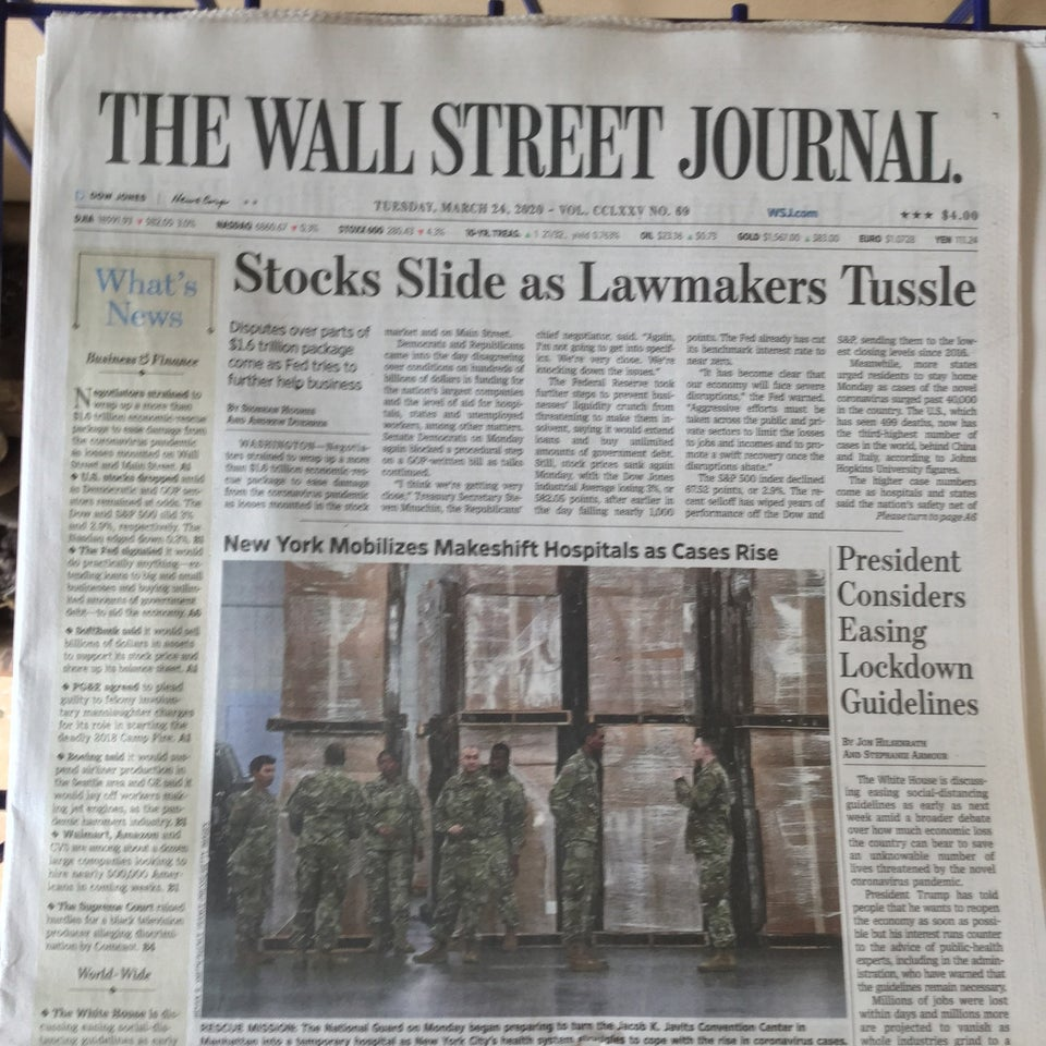 Wall Street Journal newspaper front page above the fold on March 24th, 2020 with the headline: Stocks Slide as Lawmakers Tussle.