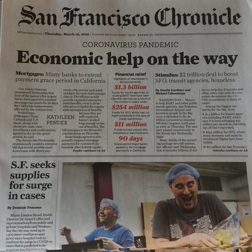 San Francisco Chronicle newspaper front page above the fold on March 26th, 2020, with large print headline: Economic help on the way.
