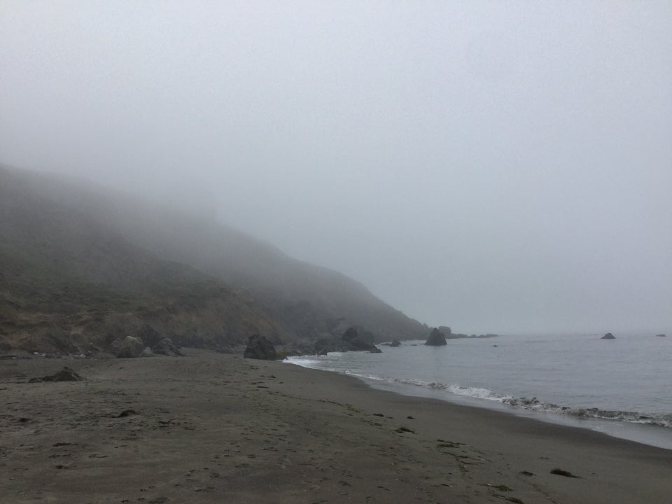 Muir beach facing south, fog covering a lot of the hill.
