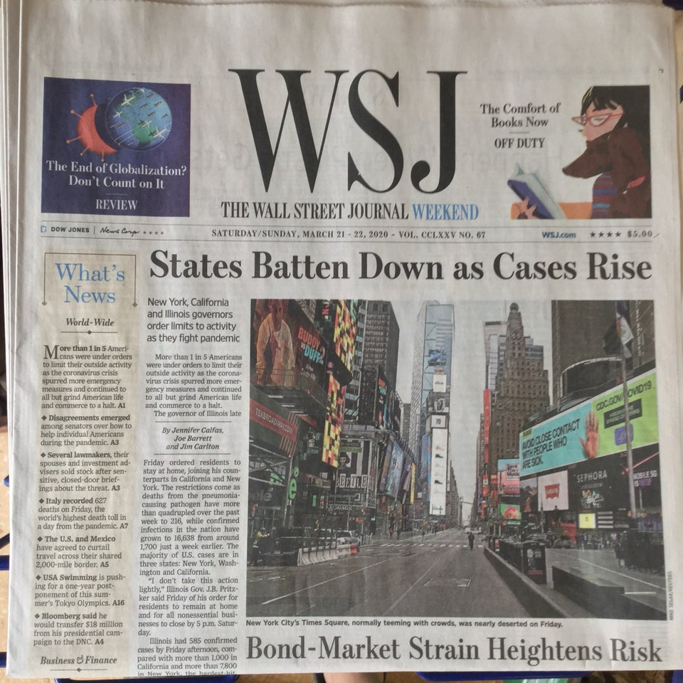 Wall Street Journal newspaper front page above the fold on March 21st, 2020 with the headline: States Batten Down as Cases Rise.