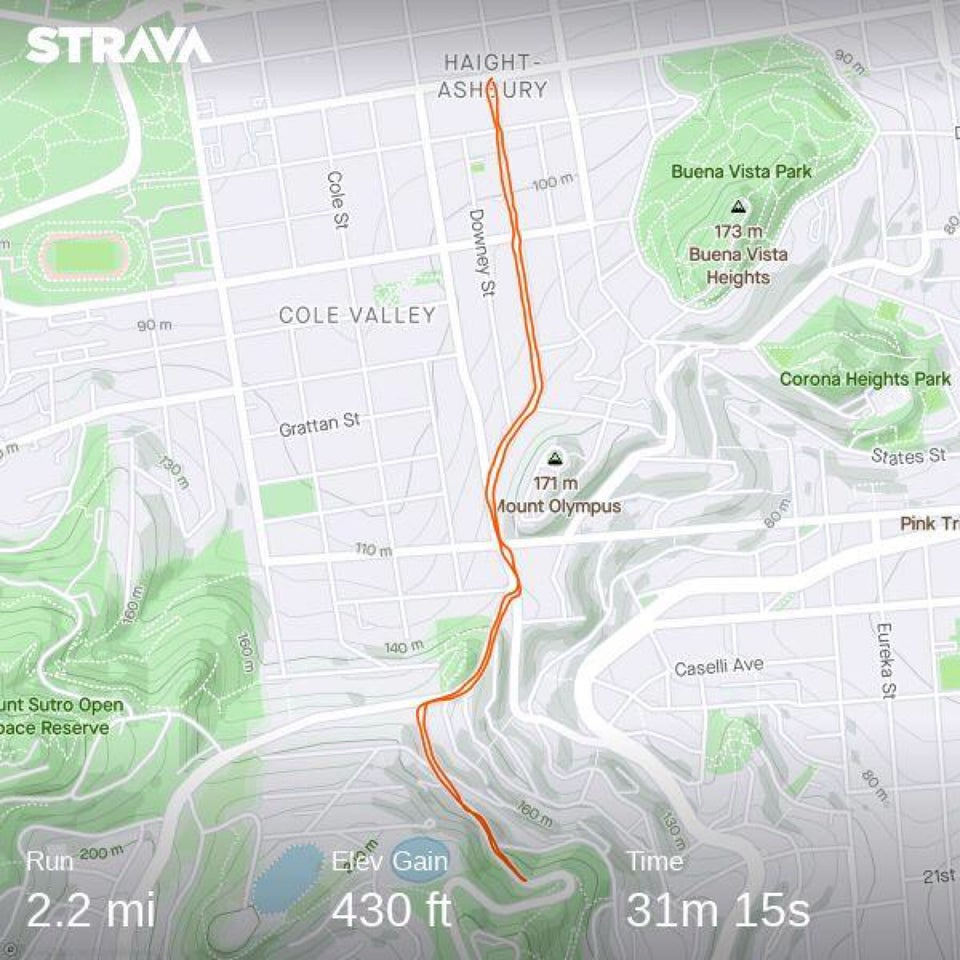 Strava map showing a roundtrip running route in red from Haight Ashbury to near a hairpin turn on Twin Peaks and back.