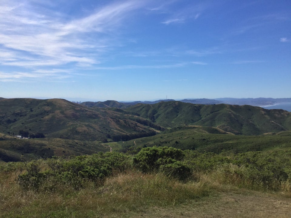 View from Coyote Ridge of the Marin Headlands with just the tip of San Francisco's skyline peaking above.