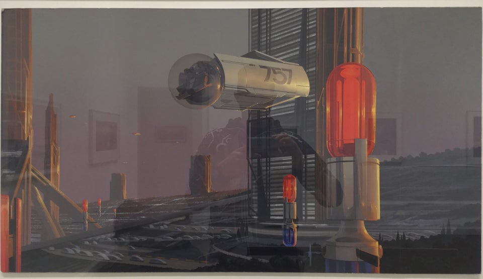 Photorealistic painting of an open air cityscape with a few very tall buildings dotting the urban landscape, one apparent elevator with a outside a cylindrical elevator car, numbered 757, with a bubble area at the front with passengers.