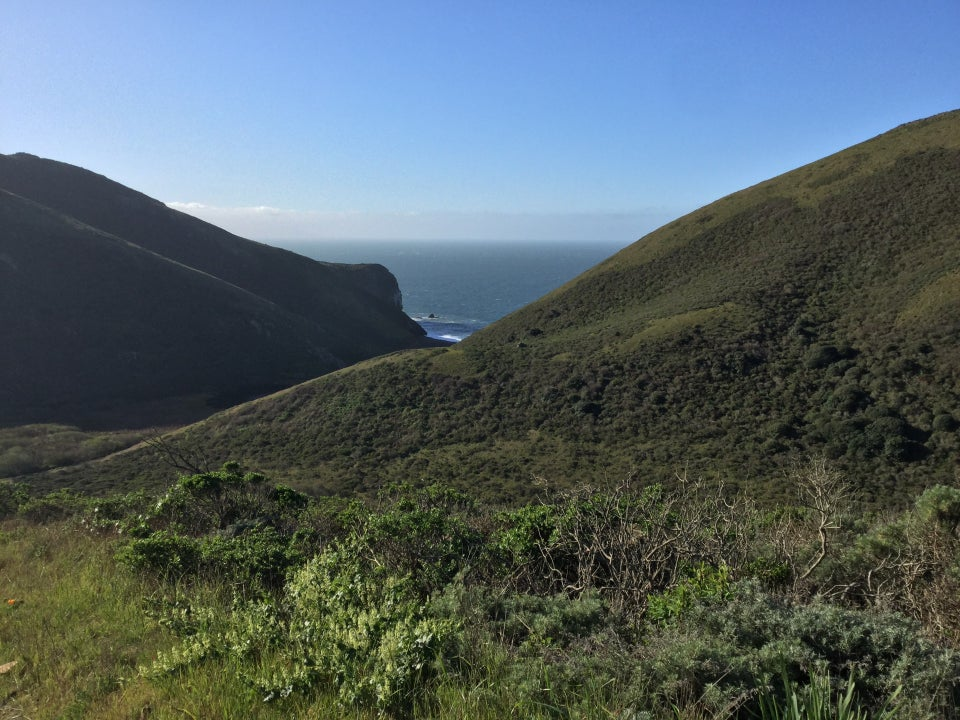 Clear blue sky above the green hills on either side of Tennessee Valley in Marin, where a bit of ocean is visible between them, as viewed downward from the Coastal Fire Road.