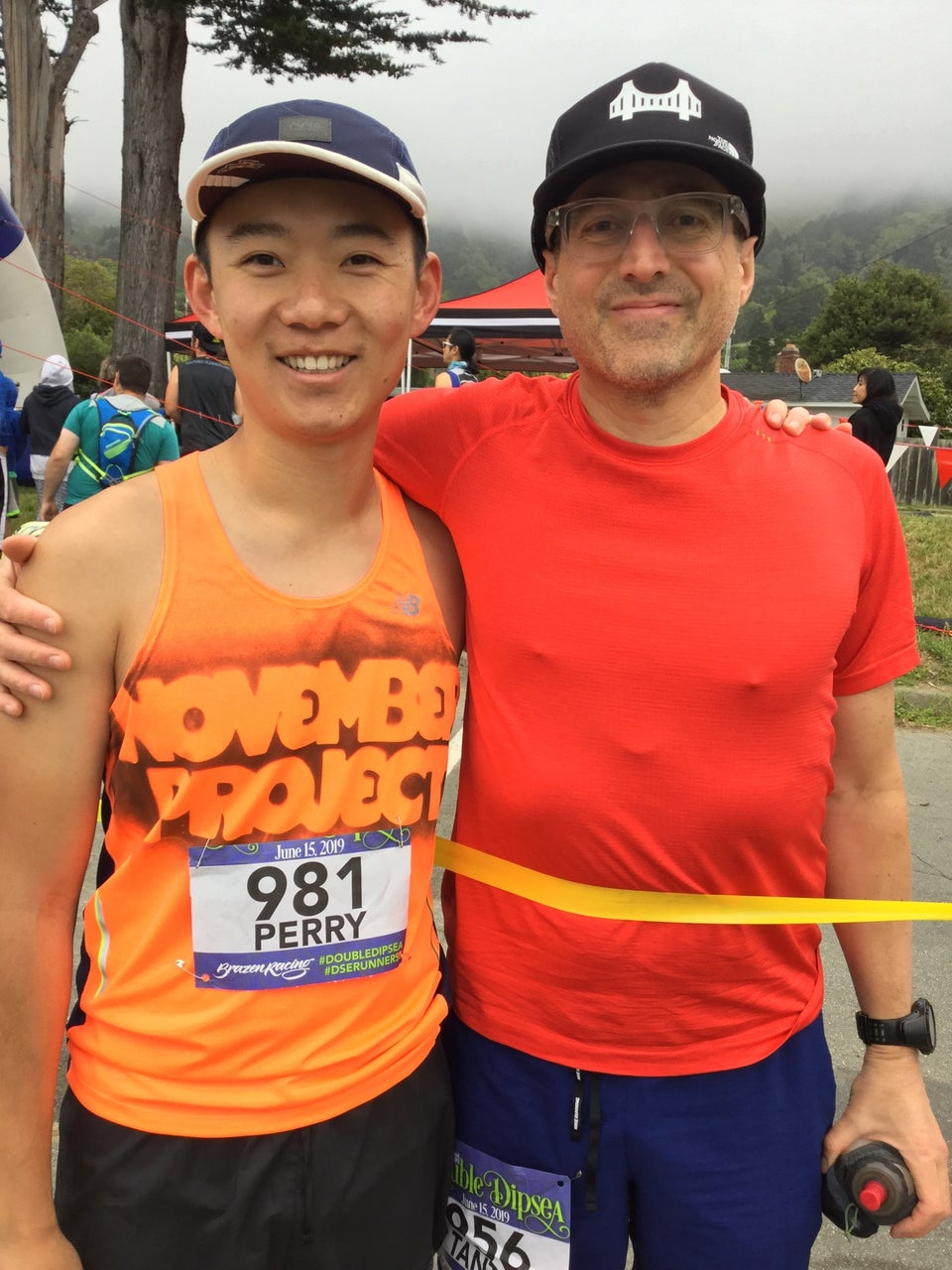 Perry and Tantek near the Double Dipsea race start, Tantek behind the yellow ribbon, race starting area behind them