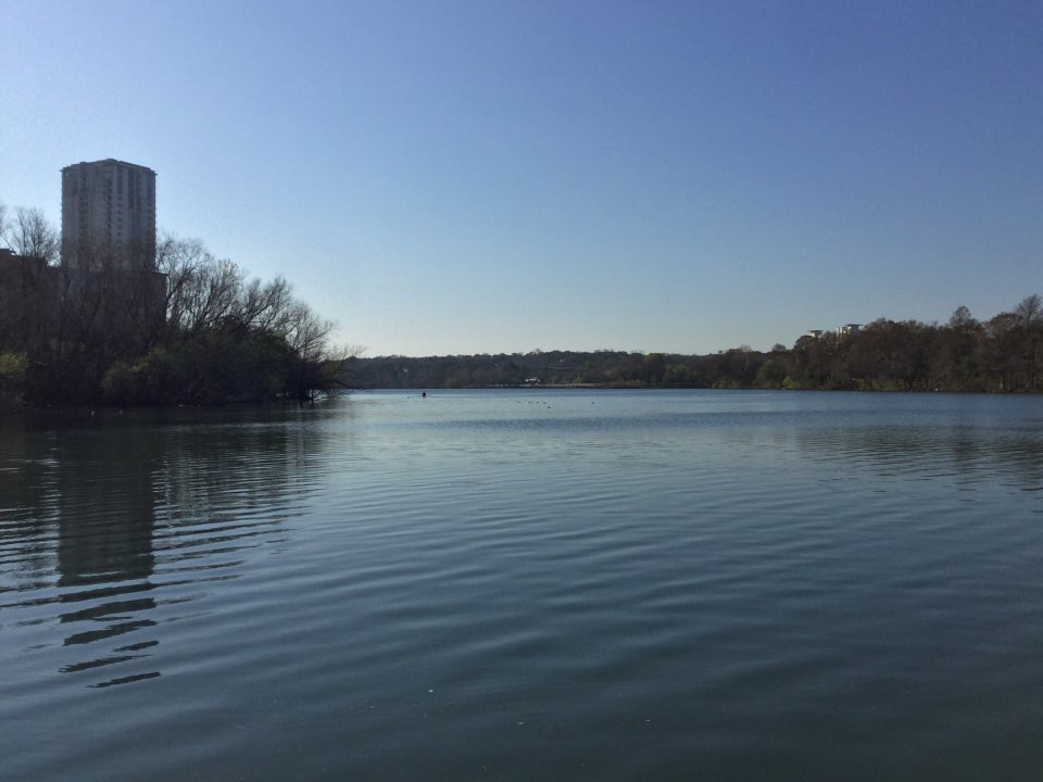Clear blue sky over the river in Austin Texas.