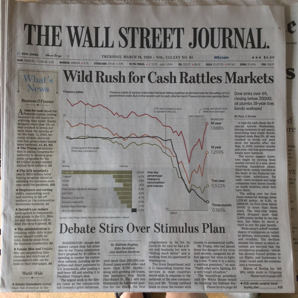 Wall Street Journal newspaper front page above the fold on March 19th, 2020.