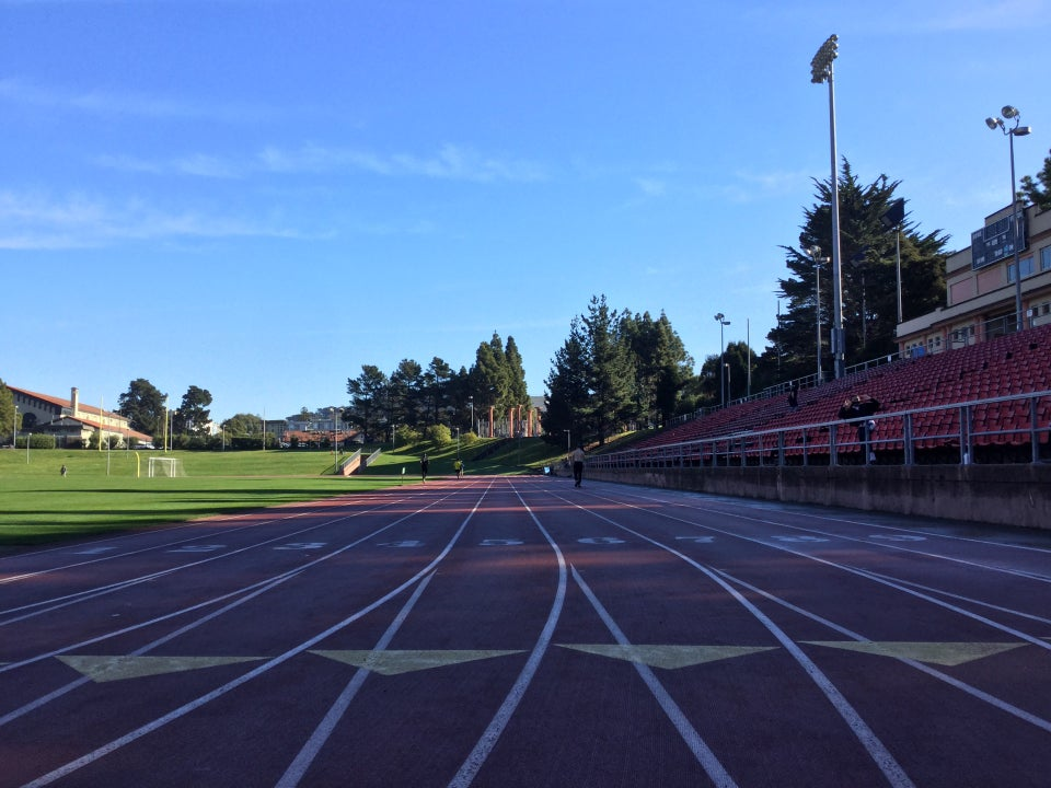 Kezar track viewed from lane 5 at the start of the front 100meter segment.