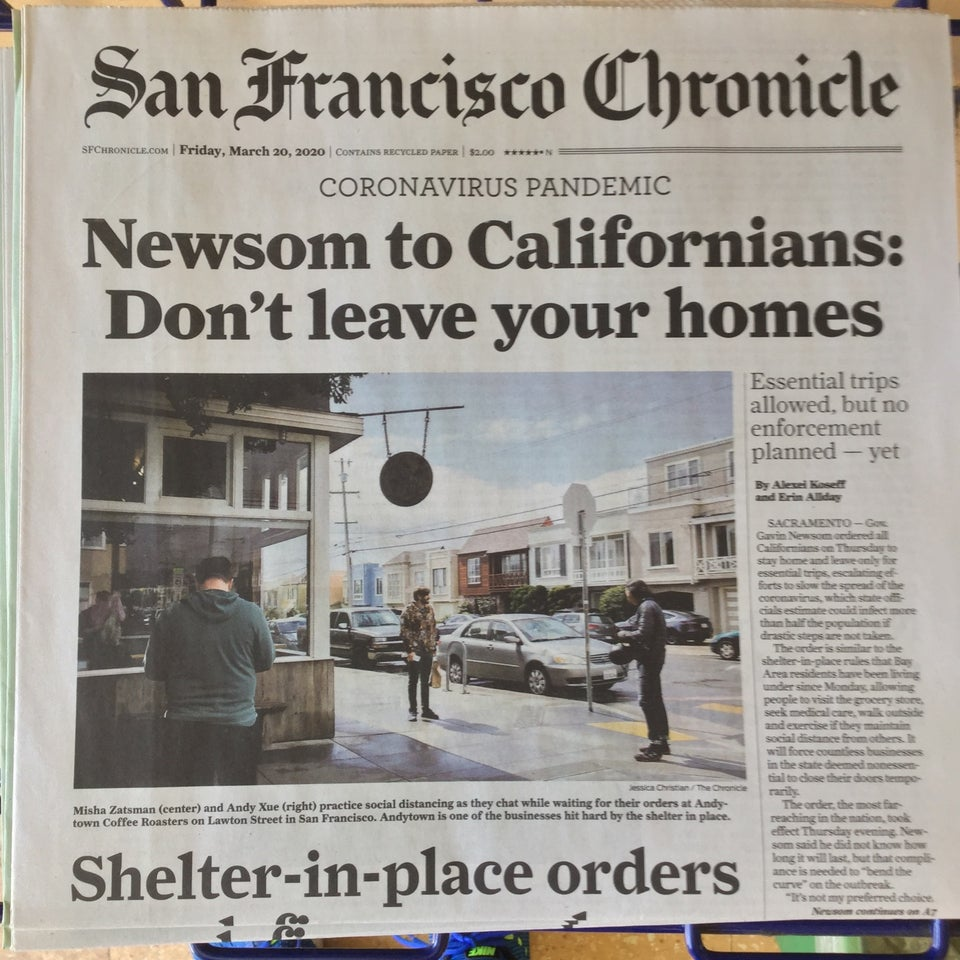 San Francisco Chronicle newspaper front page above the fold on March 20th, 2020, with large print headline: Newsom to Californians: Don't leave your homes