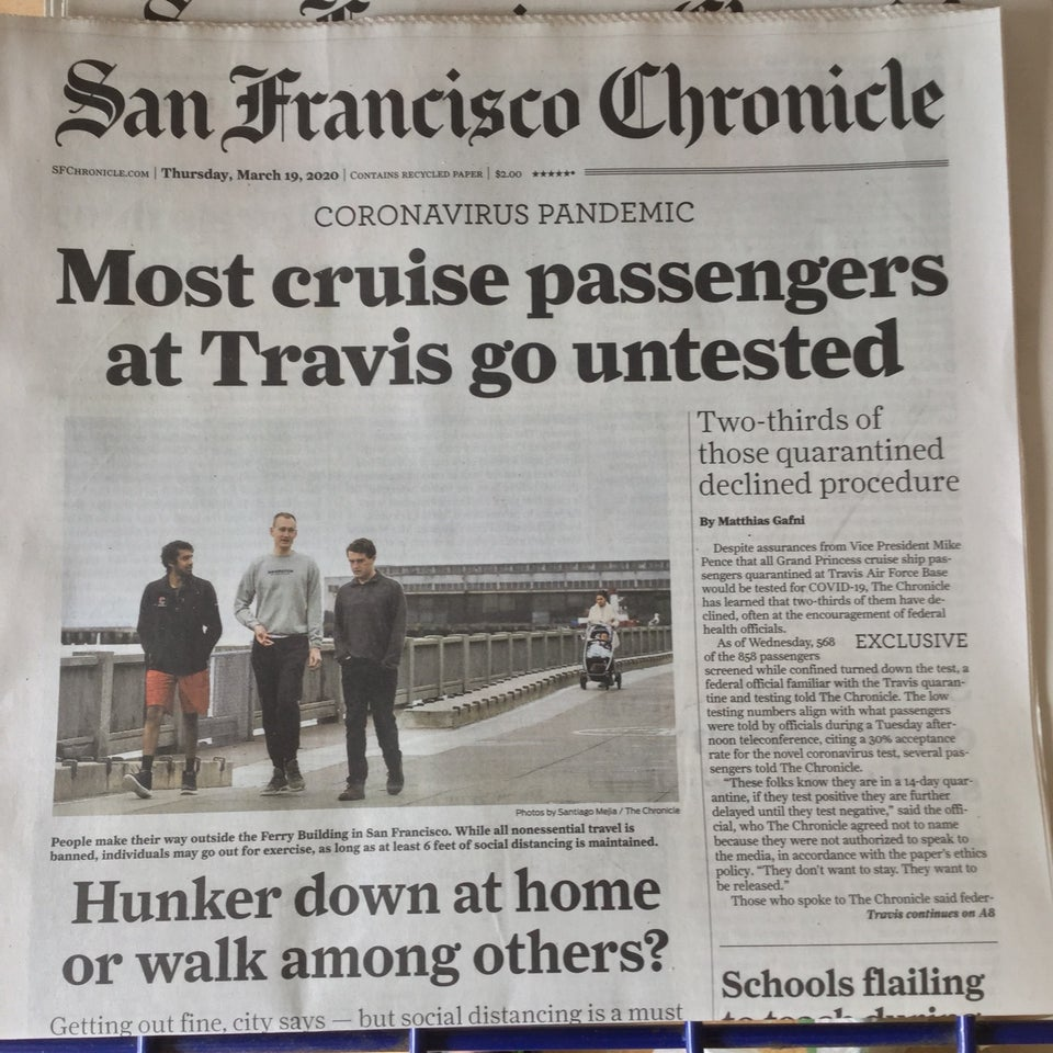 San Francisco Chronicle newspaper front page above the fold on March 19th, 2020.