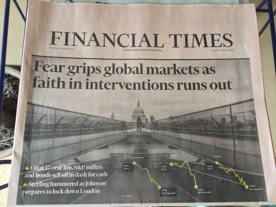 Financial Times newspaper front page above the fold on March 19th, 2020.