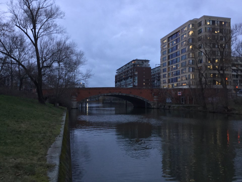 Early evening overcast cloudy gray sky over buildings on either side of the red Dovebrücke bridge, green lawn on the left bank with a bare tree, a few bare trees on the right side, not much reflected in the canal below.