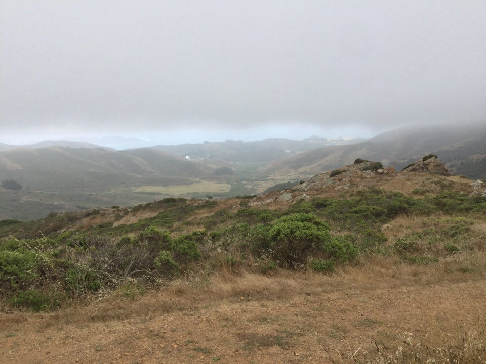 Looking west from the top of Bobcat trail, the top third a thick grey fog, a sliver of blue from the distant Pacific Ocean, rolling hills, rocks and bushes in the foreground.