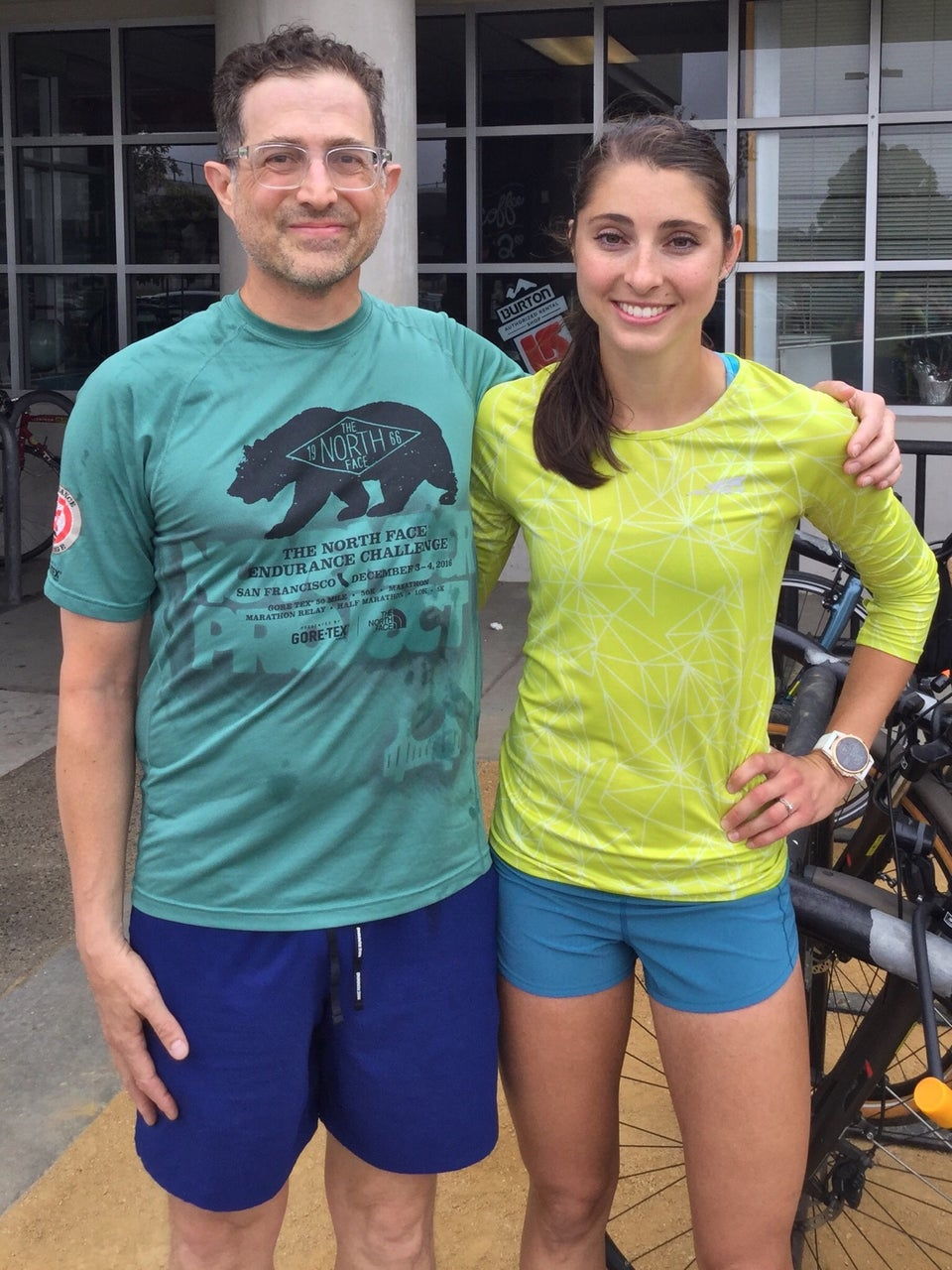 Tantek Çelik and Sarah Sellers in front of Sports Basement