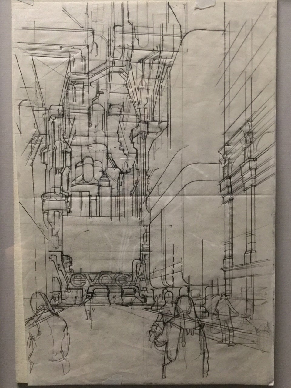 Line art drawing of a future urban street scene.