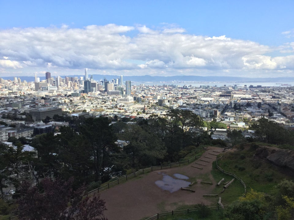 Light blue skies, low hanging scattered white gray clouds over East Bay hills in the distance, downtown San Francisco, and trees, green bushes, grass, & dirt paths of Corona Heights Park below, with a couple of large puddles from recent rains.