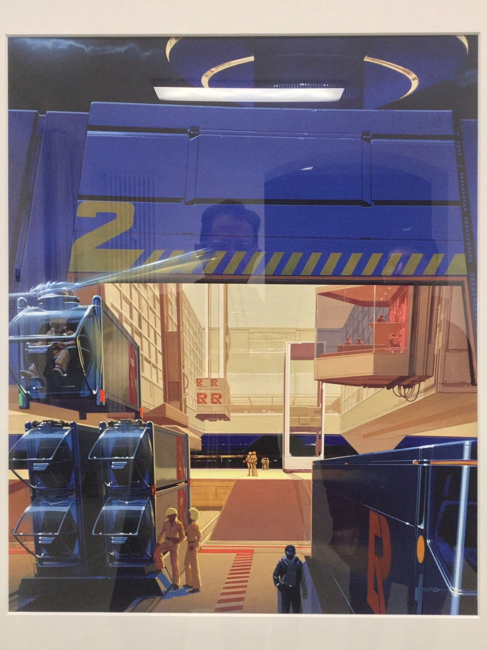 Photo-realistic painting of a futuristic loading dock with sharp lines, boxy designs, shipping containers being lowered by helicopter like attachments and bubble cockpits, onto stacks of containers in columns, pilots disembarking, a control center booth with large windows elevated behind them, a light colored wall behind them with a wide opening at floor level tall enough for the containers come and go, behind it a subtle night time cityscape in the distance with urban lighting.