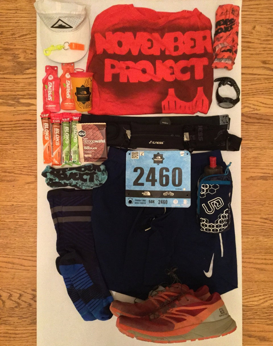 An array of running gear laid out for the North Face 50 kilometer ultramarathon trail race.