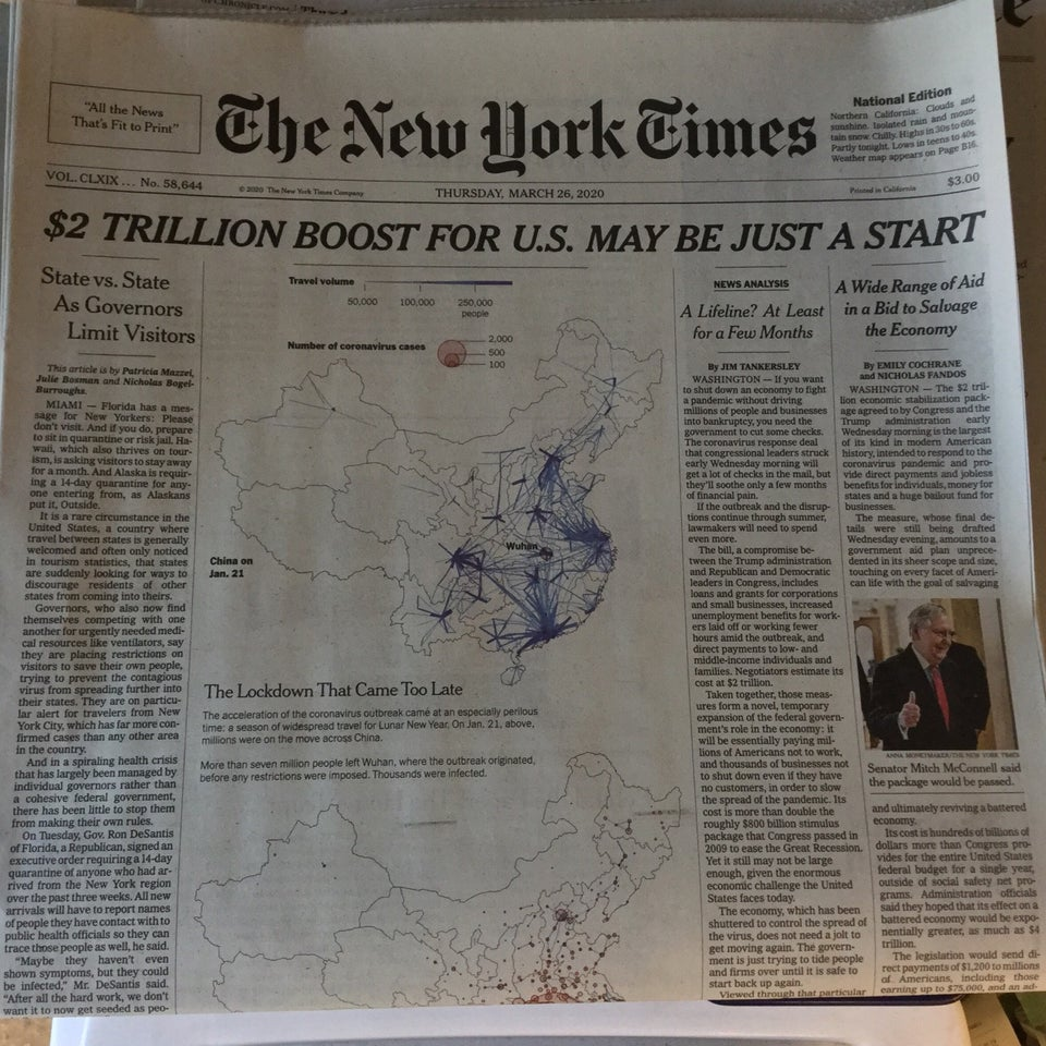 New York Times newspaper front page above the fold on March 26th, 2020 with main headline: $2 TRILLION BOOST FOR U.S. MAY BE JUST A START.